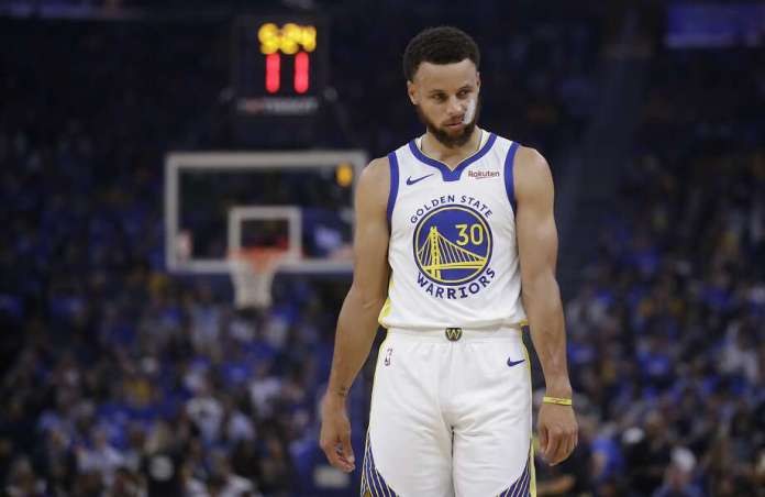 FILE - In this Oct. 24, 2019, file photo, Golden State Warriors' Stephen Curry walks on the court during the first half of an NBA basketball game against the Los Angeles Clippers in San Francisco. Photo: Ben Margot, Associated Press