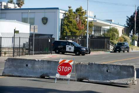 Barricades on Amador Street keep traffic away from the Vallejo police station on Wednesday, a day after the shooting. Sean Monterrosa was shot and killed by a Vallejo officer outside a Walgreens early Tuesday.