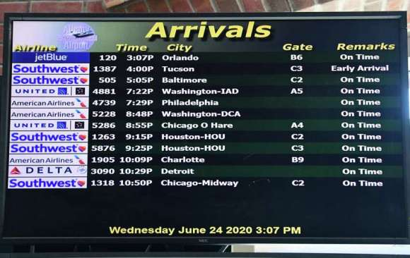 A flight coming from Orlando, Florida is seen on the arrival monitor at Albany International Airport on Wednesday, June 24, 2020 in Colonie, N.Y. Governor Andrew Cuomo has directed that all travelers arriving in New York State from states heavily impacted by the spread of the Coronavirus are subject to a 14-day quarantine. (Lori Van Buren/Times Union)