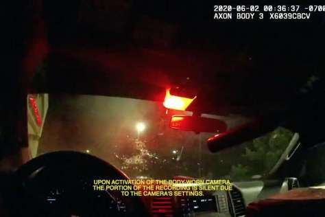 A screen capture from body camera footage that showed the police officer-involved shooting that resulted in the death of 22-year-old Sean Monterrosa on June 2 in Vallejo.