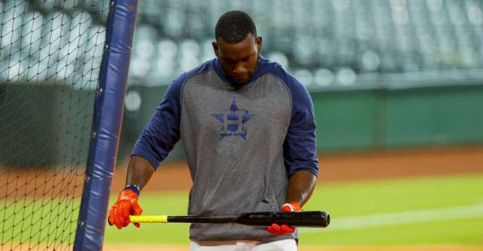 Houston Astros outfielder Yordan Alvarez (44) walks back from home plate during batting practice at Minute Maid Park on Friday, Aug. 14, 2020, in Houston.