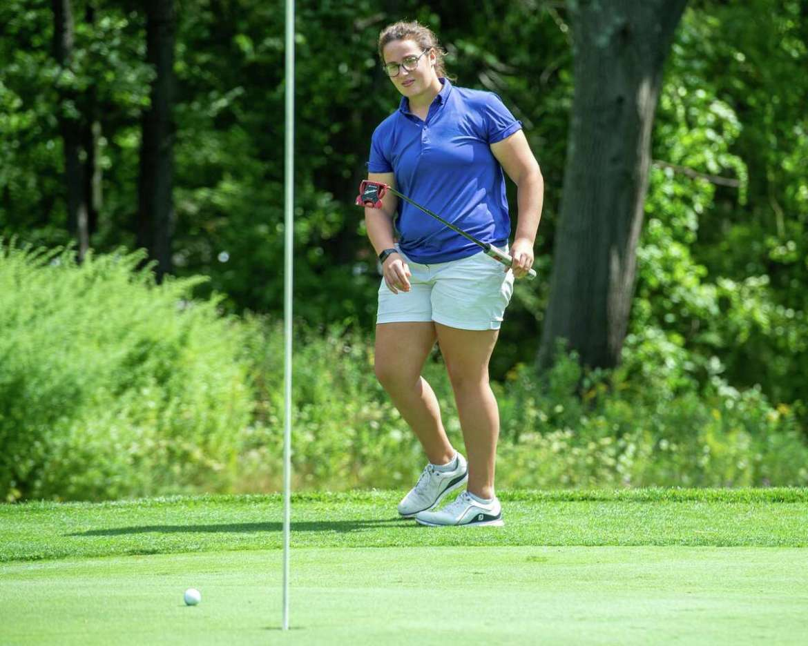 Megan Henry, a player on the UAlbany golf team, watches a putt during CDPHP Pro-Am with Symetra Tour players at Capital Hills Golf Course in Albany, NY on Friday, August 28, 2020 (Jim Franco / special to the Times Unione. )
