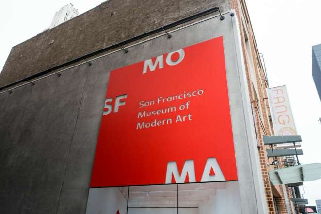 FILE - Bright red sign for the San Francisco Museum of Modern Art (SFMoMA) in the South of Market or SoMA neighborhood of San Francisco, California, August 2, 2018. Photo: Smith Collection/Gado/Getty Images