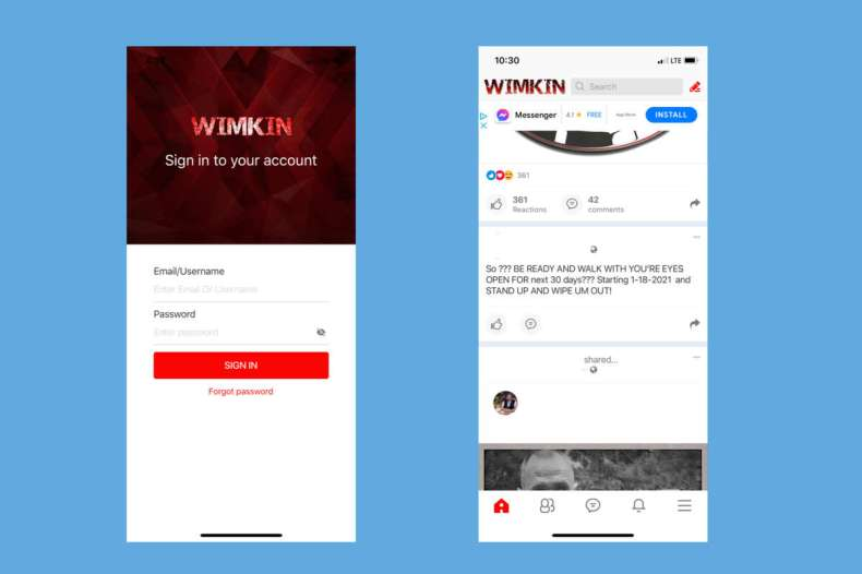 Screenshots from the social media app Wimkin.