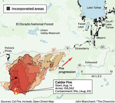 This map shows the approximate completion status of various areas of the. Caldor Fire Knocking On The Door Of Lake Tahoe Basin Cal Fire Says