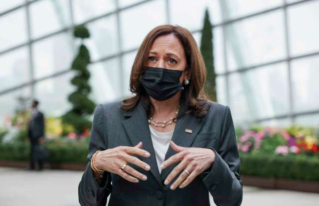 U.S. Vice President Kamala Harris takes questions from reporters as she visits the Flower Dome at Gardens by the Bay, following her foreign policy speech in Singapore, Tuesday, Aug. 24, 2021.