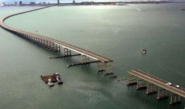 Image result for pictures of Padre Island causeway bridge built in 1973