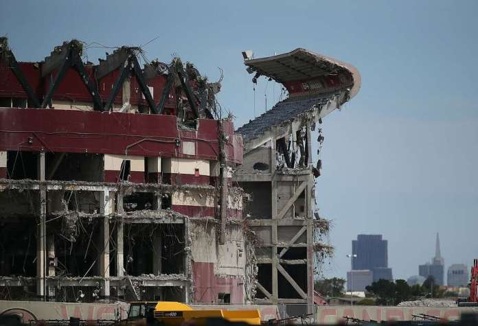 The San Francisco 49ers left the city and Candlestick Park was demolished.The San Francisco 49ers played at Candlestick Park from 1971 to 2013, before moving to new digs in Santa Clara at Levi's Stadium. In this photo, a section of Candlestick Park remains standing as demolition continues on June 9, 2015. Photo: Justin Sullivan, Getty Images