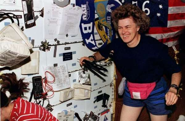 Former women's record-holder for most days in orbit ...