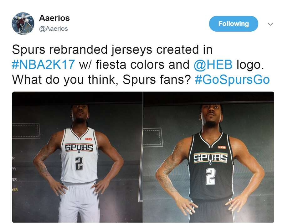 2b09fe33742 ... best price aaerios spurs rebranded jerseys created in nba2k17 w fiesta  colors and 061c9 d2ade