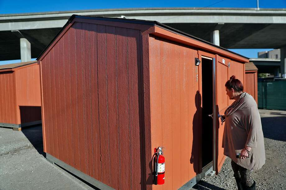 Robyin Clark moved into a shed with her partner from a homeless encampment in Oakland in December. Photo: Carlos Avila Gonzalez, The Chronicle