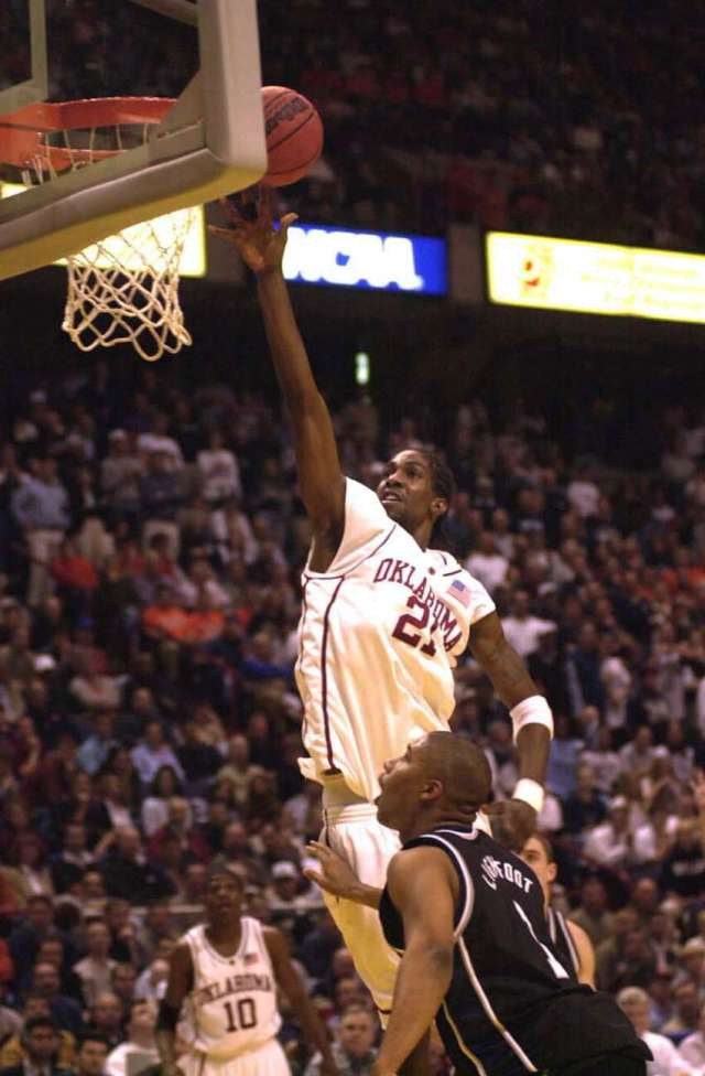 Oklahoma's Jabahri Brown scores against Butler on March 28, 2003.