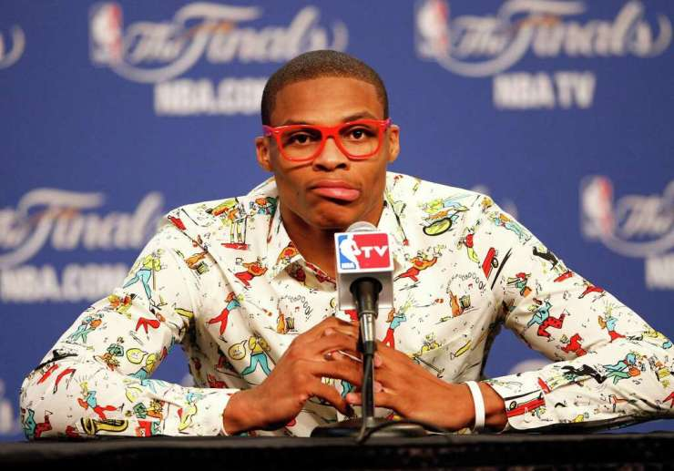 NBA FASHION: OKLAHOMA CITY, OK - JUNE 12: Russell Westbrook #0 of the Oklahoma City Thunder answers questions after the Thunder defeat the Miami Heat 105-94 in Game One of the 2012 NBA Finals at Chesapeake Energy Arena on June 12, 2012 in Oklahoma City, Oklahoma Photo: (Photo By Mike Ehrmann/Getty Images) / 2012 Getty Images