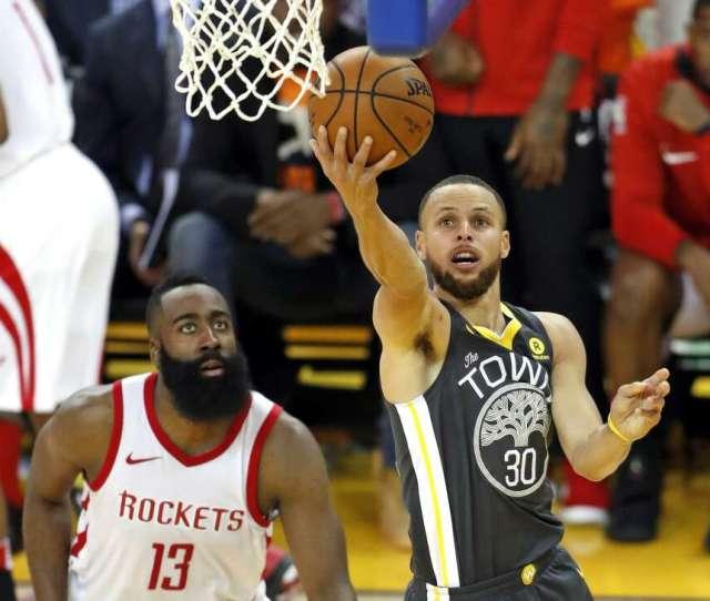 Golden State Warriors Stephen Curry Scores Past Houston Rockets James Harden In Rd Quarter