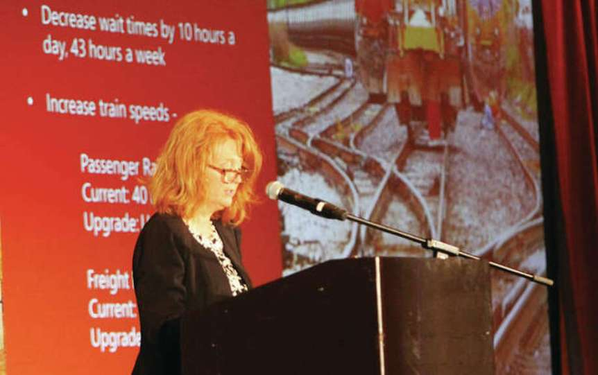 Mary Lamie, executive director of St. Louis Regional Freightway, talks about the need for improvements at the Union Pacific Lenox Tower in Mitchell, during a Freight Summit luncheon held as part of FreightweekSTL, a four-day conference that ended Thursday. Photo:   Scott Cousins   The Telegraph