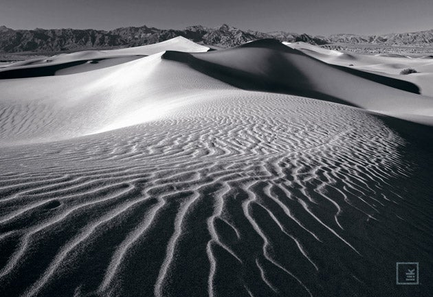 Breathless  Death Valley, California - The dunes of Death Valley are amazing - etched with ripples of sand caused by the winds that rip through the area each night. I trekked across the desert to find the ultimate patterns and discovered this shot. It was breathtaking - I raced to set up my camera and capture the scene before me. I took position and using a low angle on the camera to really capture each ripple on the surface. Surrounded by the silence of the sand I decided to capture the image in black and white to bring a powerful, abstract feel to the image.