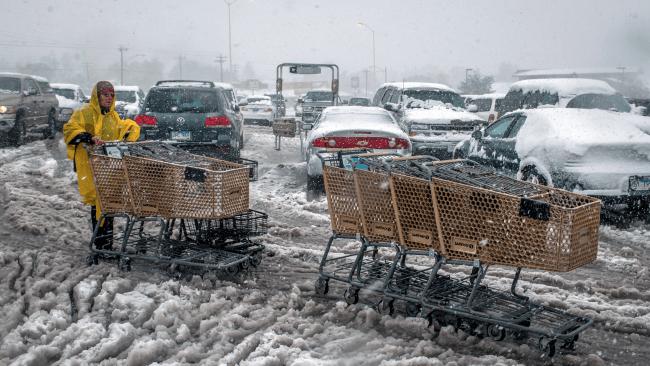 Rapid city  USA  snow in car park