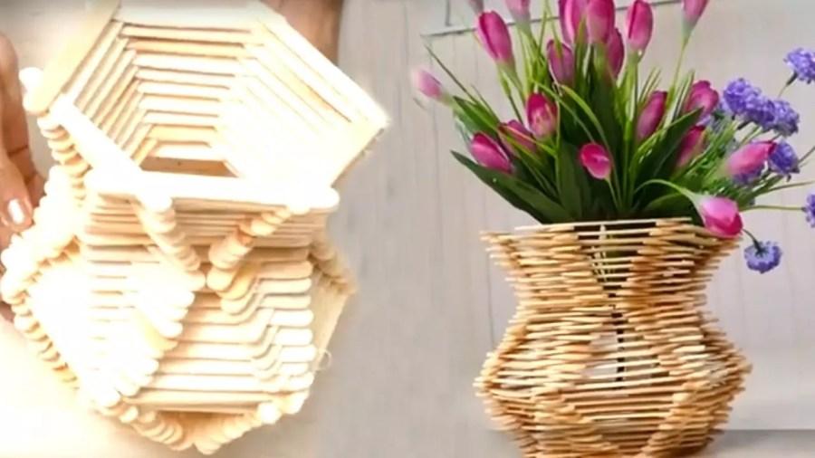 Hasil gambar untuk kerajinan vas bunga dari stik es krim