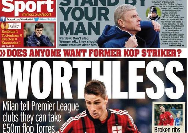 ¡Lamentable! La prensa británica insulta y se ceba con Fernando Torres 1