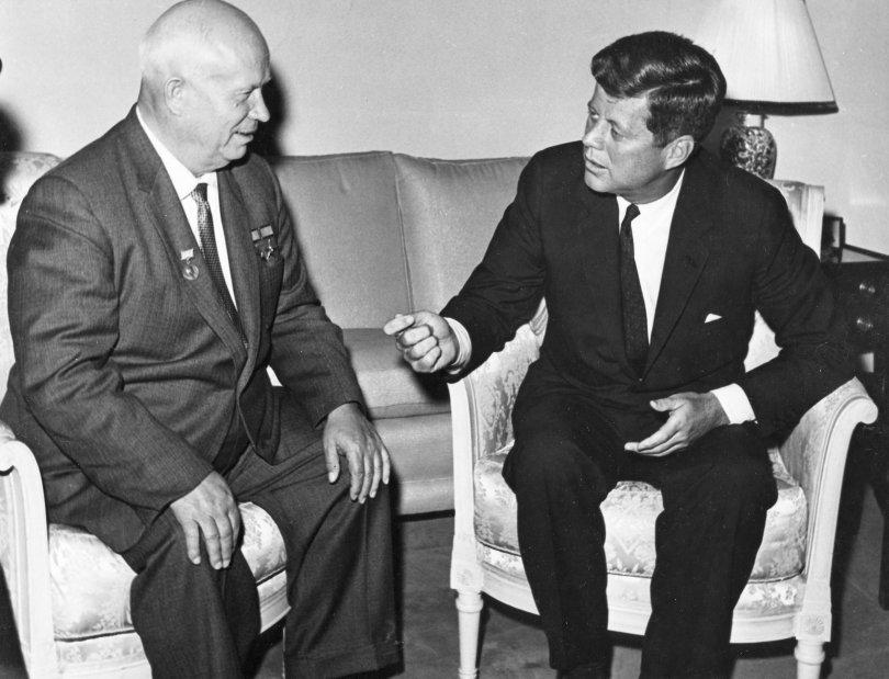 Khrushchev with President John F. Kennedy.