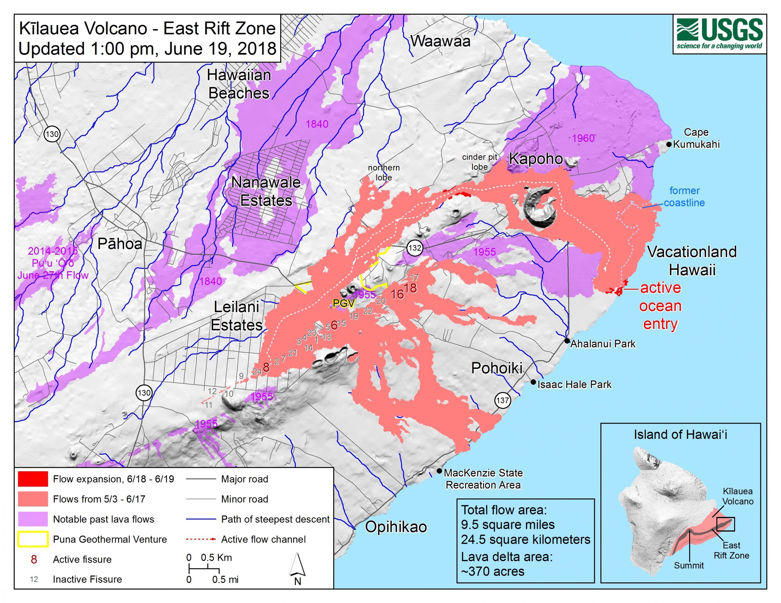 Hawaii Kilauea Volcano Update Usgs Map New Fissures Earthquake Overnight Explosion