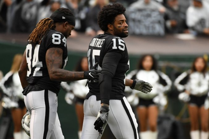 Oakland Raiders wide receiver Michael Crabtree, right.