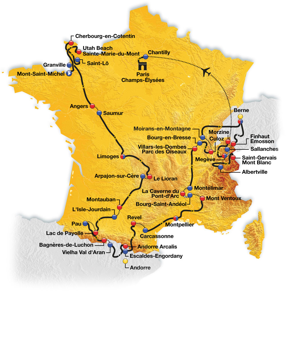 Routekaart Tour de France 2016