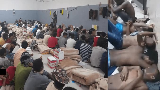 De gauche à droite : des détenus éthiopiens dans un centre de rétention à Riyad, en Arabie saoudite ; des détenus éthiopiens contraints de dormir dans les toilettes à même le sol, à cause du manque de place, dans un centre de rétention à Jazan. Images prises en août 2021.