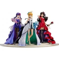 FATE/STAY NIGHT ~15TH CELEBRATION PROJECT~ 1/7 SCALE PRE-PAINTED FIGURE: SABER, RIN TOHSAKA AND SAKURA MATOU ~15TH CELEBRATION DRESS VER.~ PREMIUM BOX Good Smile