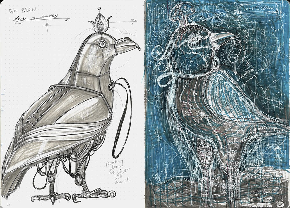 Two sketches of imaginary birds