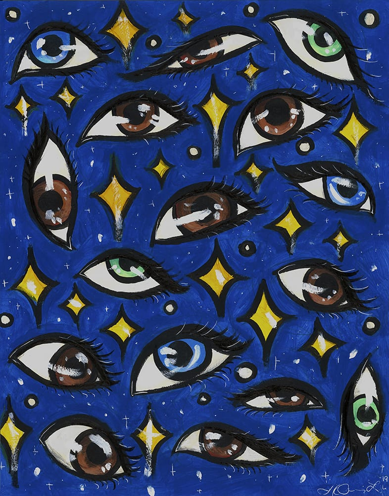 painting of eyes on a blue background