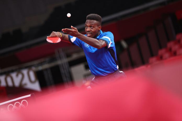 La joueuse de tennis de table togolaise Kokou Dodji Fanny lors des JO de Tokyo 2021.