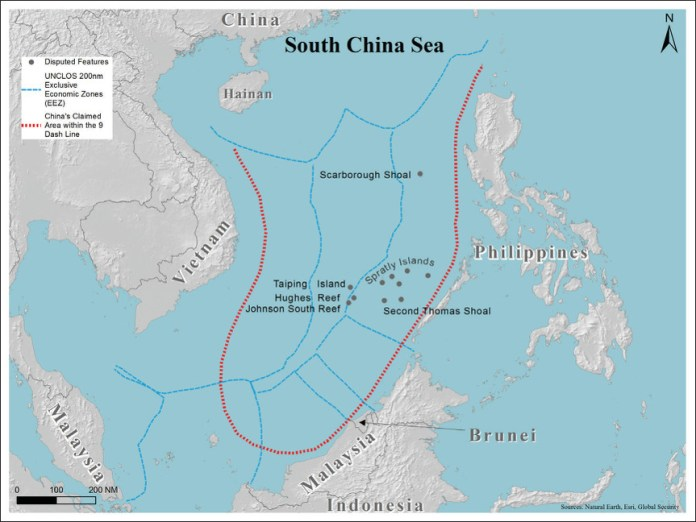 In red dots: area claimed by China.  The blue lines indicate the exclusive economic zones of various countries as recognized by the United Nations Law of the Sea.