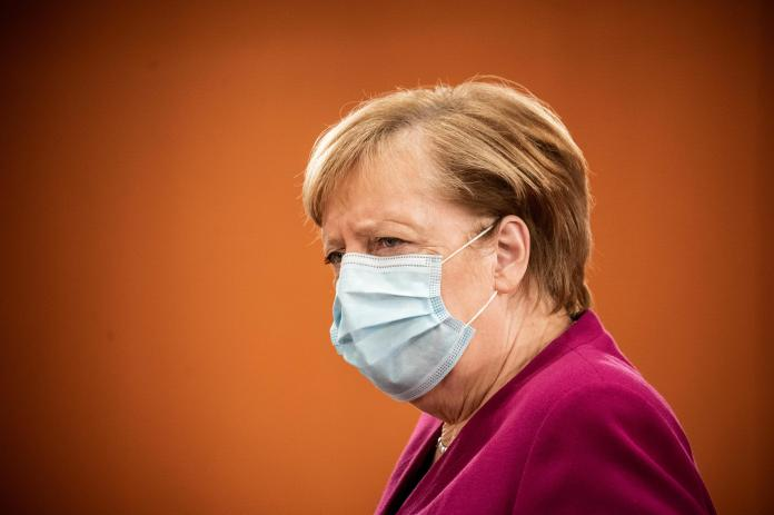 German Chancellor Angela Merkel meets with leaders of federal states to discuss new restrictions to curb the spread of Covid-19, October 14, 2020