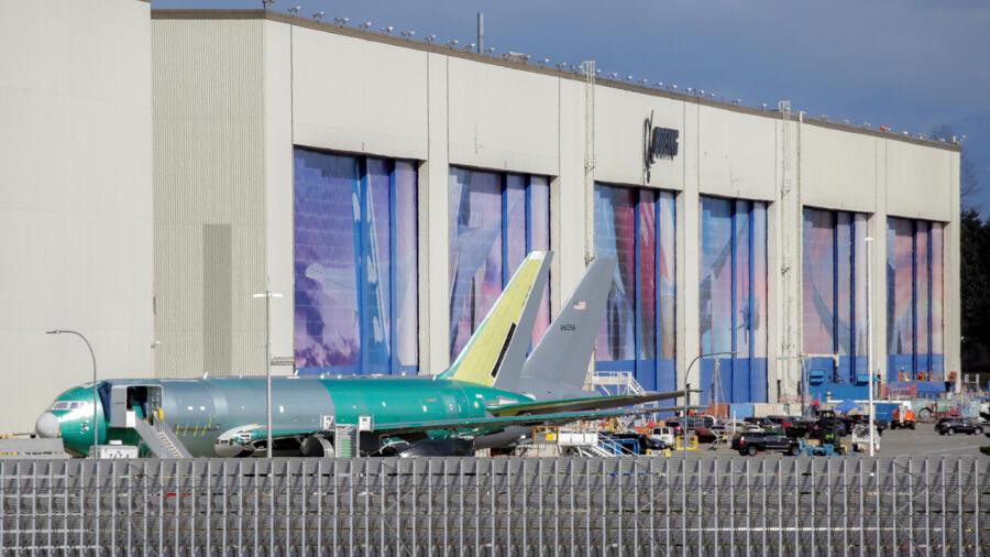 Ảnh chụp tại nhà máy Boeing Everett, Washington, Hoa Kỳ vào ngày 23/03/2020 sau khi hãng Boeing tuyên bố tạm thời ngưng sản xuất tại các cơ sở Puget Sound, do dịch Covid-19.