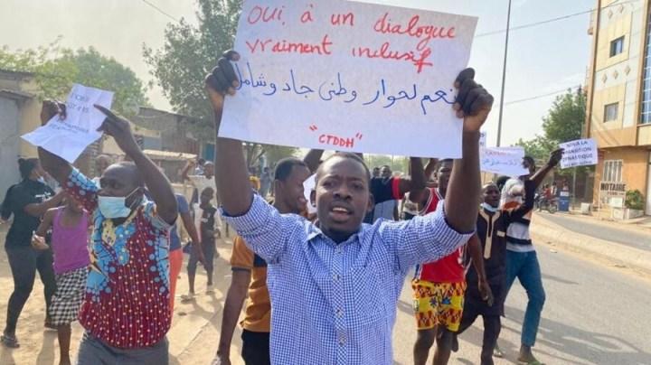 Manifestation à NDjamena, mardi 27 avril 2021.