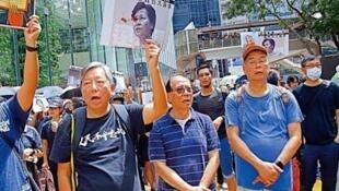 右起:黎智英、杨森及李卓人前年参与8.31游行,下周判刑。4月7日