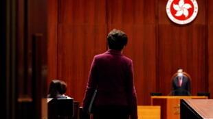 香港特首林郑月娥2021年4月8日在立法会接受议员质询。