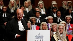 资料图片:香港终审法院首席法官马道立。图片摄于2017年1月9日