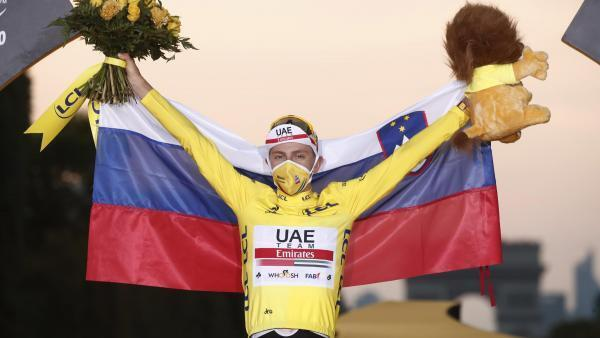 Slovenian Tadej Pogacar celebrates his victory in the Tour de France 2020 on September 20, 2020.