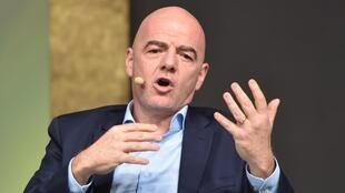 The president of the International Football Federation (FIFA), the Swiss Gianni Infantino, on February 3, 2020 in Budapest.