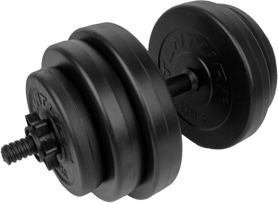Tunturi Dumbbellset - Halterset - Totaal 28 kg - Zwart Vinyl