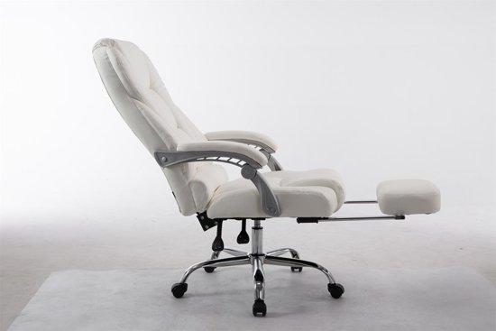 Clp Bureaustoel PACIFIC, manager stoel met armleuning, relax zetel met voetsteun, belastbaar tot 150 kg,kunstleer - wit