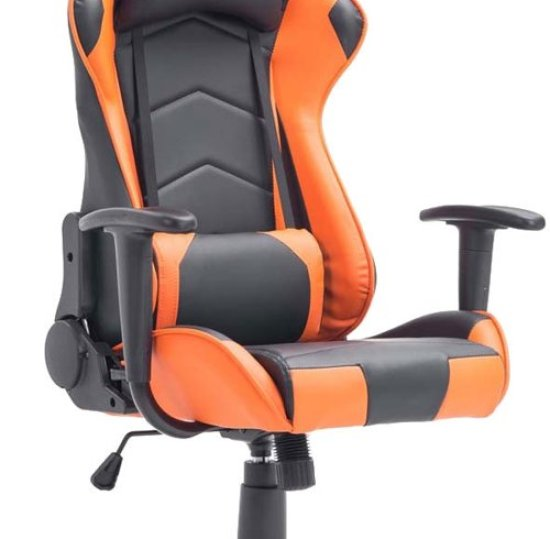 Clp Racing bureaustoel MIRACLE Sport seat Racing, Gaming chair - zware belasting tot 150 kg, ergonomisch - zwart/oranje