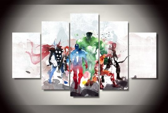 bol com   Marvel Avengers Watercolour   5 Delige Canvas Wanddecoratie Marvel Avengers Watercolour   5 Delige Canvas Wanddecoratie