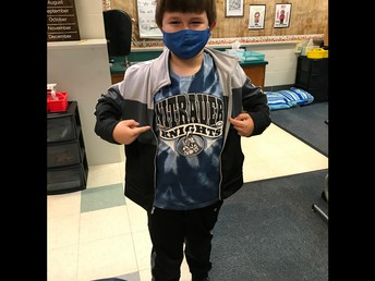 First grader Kyle proudly wears his Nitrauer Spirit Wear!