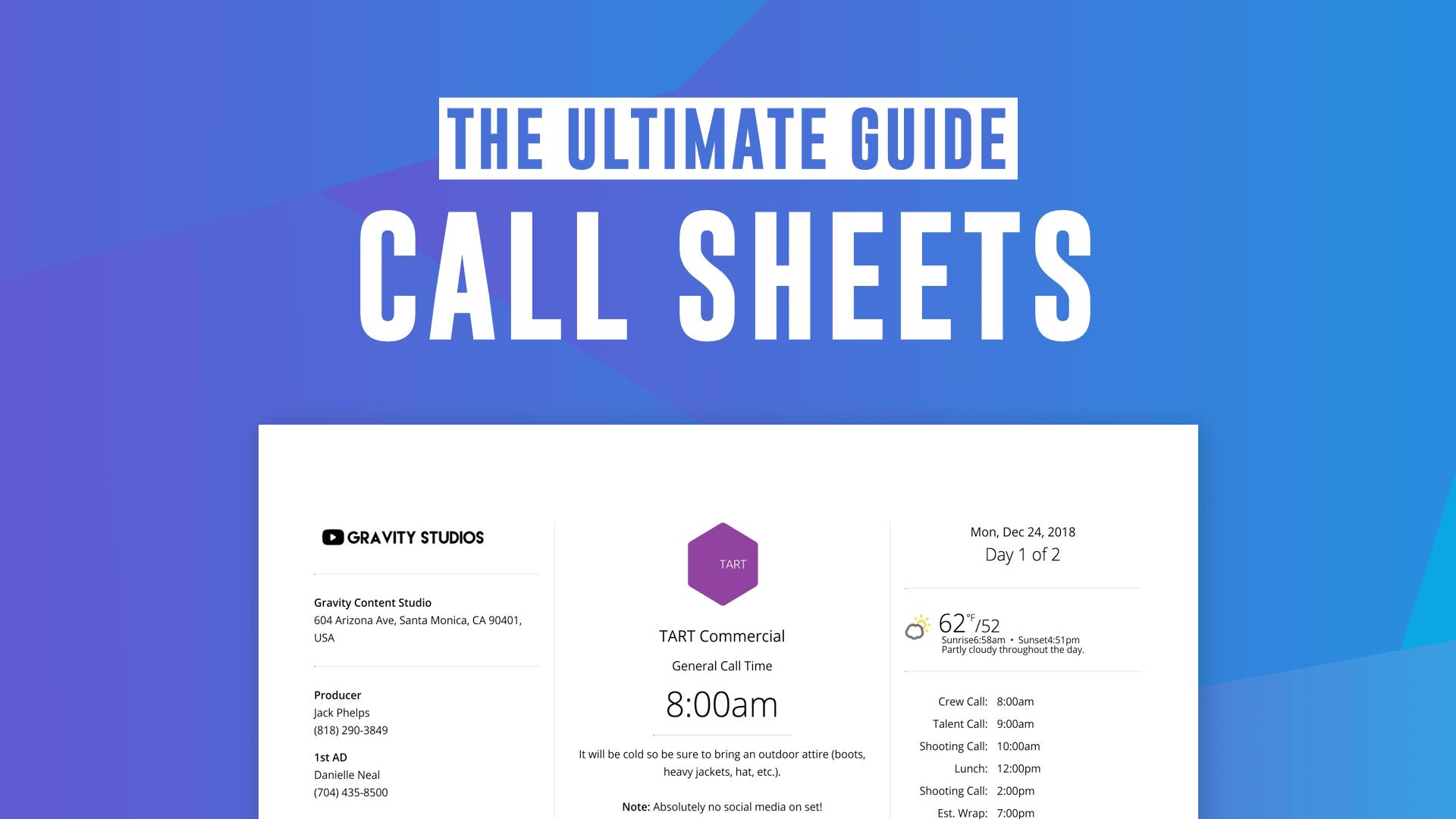 Free Tv Amp Film Call Sheet Templates Make A Pro Callsheet