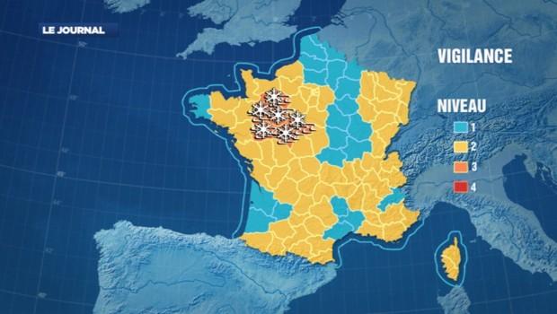 Carte de vigilance de Météo France (29/01/2012)