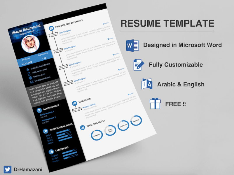 65 Eye Catching CV Templates For MS Word   Free To Download Free Word Resume Template      CV template for Word  CV template for Word