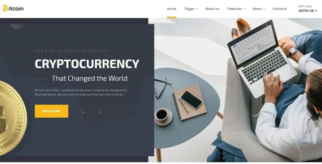 Bitcoin Cryptocurrency Responsive Website Template
